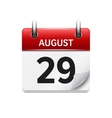 August 29 flat daily calendar icon Date vector image vector image