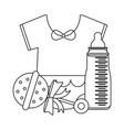 baby clothes with maraca and bottle in black and vector image