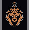 bear in crown mascot icon vector image vector image