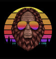 bigfoot head eyeglasses sunset retro illust vector image vector image