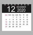 business calendar 2020 december notebook vector image