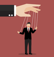 Businessman puppet on ropes vector image vector image