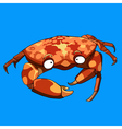 cartoon crab on a blue background vector image vector image