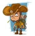 Cartoon crafty man in cowboys hat vector image vector image