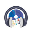 cd musical notes and headphone concept vector image vector image