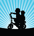 children on bike silhouette in nature vector image vector image