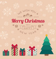 christmas tree with presents and greeting text vector image vector image