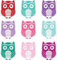 Colorful Cute Owl Silhouette Collections vector image vector image