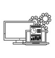 computer with documents and gears in black and vector image vector image