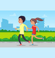 couple running or jogging in park sportswear vector image vector image