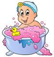 cute bathing baby vector image