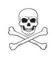 doodle skull jolly roger with crossbones bottom vector image