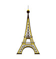eiffel tower backlit isolated on white background vector image