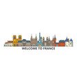 france outline skyline french flat thin line vector image