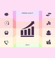 growing bars graphic icon with rising arrow vector image