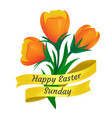 happy easter sunday golden ribbon with cute vector image