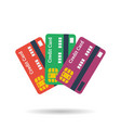 icon of three credit plastic cards vector image vector image