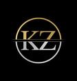 initial kz letter logo design abstract letter kz vector image vector image