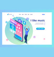 landing page isometry i love music guy enjoys vector image