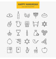 Line Jewish Happy Hanukkah Icons Big Set vector image vector image