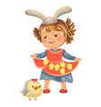 little girl smile holding in her dress chickens vector image vector image