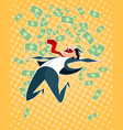 lucky businessman jumping vector image vector image