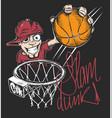 mad basketball slam dunk t-shirt print design vector image