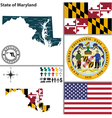 Map of Maryland vector image vector image