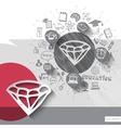 Paper and hand drawn diamond emblem with icons vector image vector image
