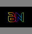 rainbow color colored colorful alphabet letter bn vector image vector image