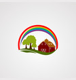rainbow home farm logo icon element and template vector image vector image