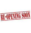 re-opening soon stamp vector image vector image