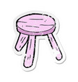 retro distressed sticker a cartoon pink stool vector image vector image