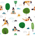 seamless pattern girl doing outdoor yoga vector image vector image