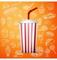 soda fountain drink and hand draw fast food icon vector image
