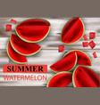 summer watermelon fruits slices on wooden vector image vector image