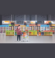 supermarket man customer checking shopping list vector image