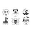 surfing club retro logo templates set paradise vector image vector image