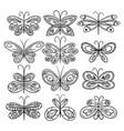 twelve hand drawn butterflies appropriate for vector image