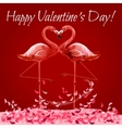 Valentine Day card with flamingos love heart vector image vector image