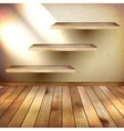 Wall shelves on grunge interior EPS 10 vector image vector image