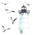 Watercolor lighthouse and seagulls vector image vector image
