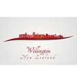 Wellington skyline in red vector image vector image