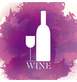 wine bottle and cup vector image vector image