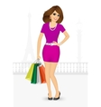 woman holding shopping bags vector image vector image