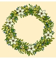 floral wreath frame with white flowers vector image