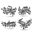Musical notes staff set vector image