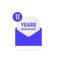 11 years anniversary icon in envelope