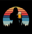 bigfoot silhouette beer retro vector image vector image