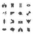 black anatomy icons set vector image vector image